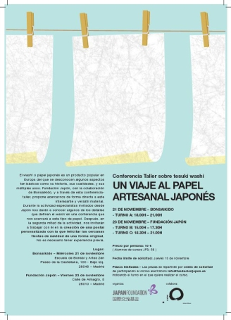 Cartel: Conferencia-taller sobre 'tesuki washi' (Madrid)