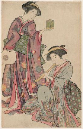 Woman Holding an Insect Cage and Woman Playing the Shakuhachi (1777)